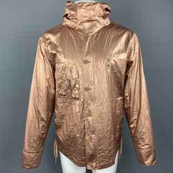 Helmut Lang Size M Metallic Copper Wrinkled Tyvek Hooded Lace Up Jacket