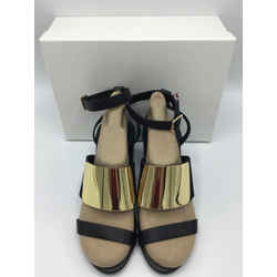 See by Chloe Size 38.5/7.5 Black & Gold Sandals