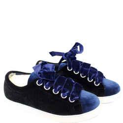 Fendi Velvet Sneakers Blue/black Size 8.5 Us