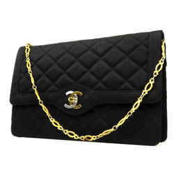 Chanel ( ULTRA RARE ) Quilted Satin Two-Tone CC Logo Flap 221856