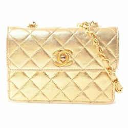 Auth Chanel Chanel Lambskin Mini Matrasse Coco Mark Chain Shoulder Bag Gold