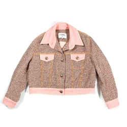 Chanel - 2018 Pink Fantasy Tweed Bomber Jacket - Cc Denim Coat 18p - Us 16 - 48