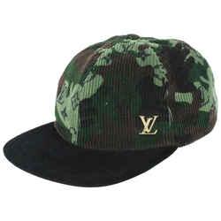 Louis Vuitton Rare Camo Monogram Camouflage Corduroy Baseball Cap ou Pas Hat 99lvs83