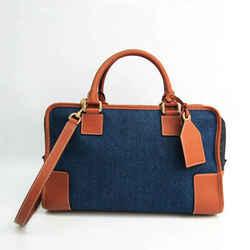 Loewe Amazona 32 Women's Leather,Denim Handbag,Shoulder Bag Blue,Brown, BF527291
