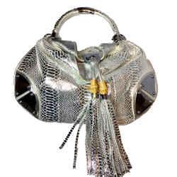 Gucci Silver Metallic Python Large Babouska Indy Bag. Runway Bag!