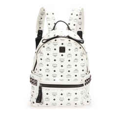 Vintage Authentic MCM White Coated Canvas Fabric Visetos Stark Backpack Korea