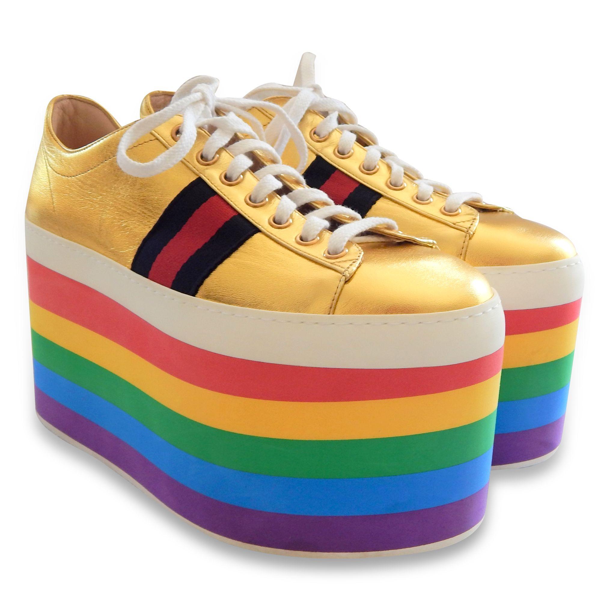 NEW $1084 GUCCI Peggy Rainbow Platform