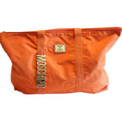 Moschino Tote Bag Shopper Orange Gold Italy Attached Pouch