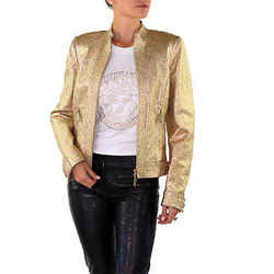 New Versace Gold Metallic Textured Leather Jacket 42 - 6