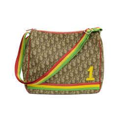 Authentic Dior Monogram Signature Tan Trotteur Diorissimo Rasta Canvas Messenger Bag