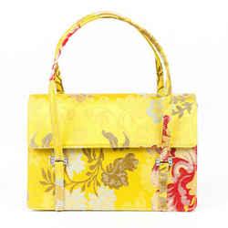 Oscar de la Renta Bag Yellow Floral Brocade Satin