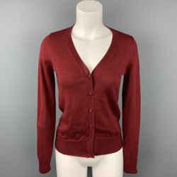 MAISON MARTIN MARGIELA Size S Burgundy Wool Cardigan