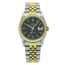 Rolex Datejust 36mm Watch Stainless Steel 18k Gold Black Dial 16233