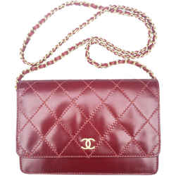"Chanel Wallet on Chain Classic Flap Dark Red Leather Shoulder Bag 7.5""L x 2""W x 5""H"