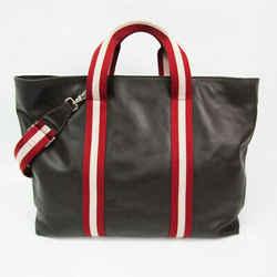 Bally Tolfa Unisex Leather,Canvas Handbag,Shoulder Bag Cream,Dark Brown BF530323