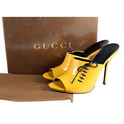 Gucci Lace Up Patent Mules Yellow/gold/black Size 9 Authenticity Guaranteed