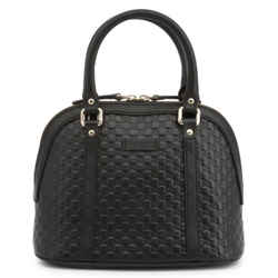 New Gucci Black Leather Mini Convertible Micro Gg Guccissima Dome Satchel Crossbody Shoulder Bag