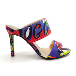 Versace Red / Blue Multi Printed Grosgrain Sandals
