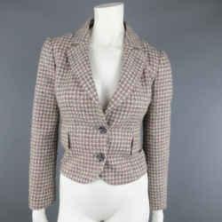 Red Valentino 2 Gray & Pink Plaid Wool Blend Tweed Cropped Peak Lapel Blazer