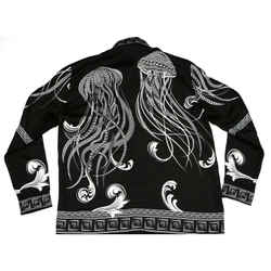 Versace - Jellyfish Silk Shirt - Button Up Long Sleeve - Black & White - Large L