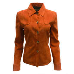Loro Piana Burnt Orange Goatskin Suede Leather Jacket