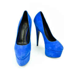 Giuseppe Zanotti: Royal Blue Leather, Platform Heels/pumps Sz: 6m