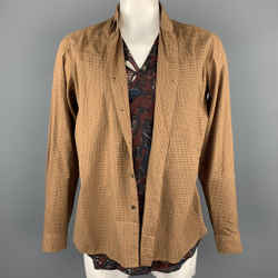 DRIES VAN NOTEN Size L Tan Window Pane Cotton / Cupro Vest Wrap Layered Long Sleeve Shirt