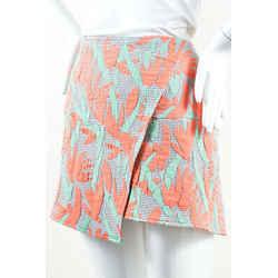 Kenzo NWT Green Coral Gray Striped Geometric Mini Skirt SZ 42