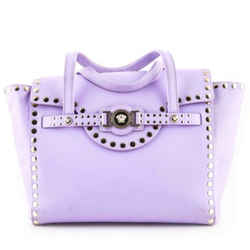 Versace Purple Lilac Nappa Leather Satchel With Studs