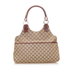 Vintage Authentic Gucci Brown Beige Canvas Fabric GG Shoulder Bag Italy