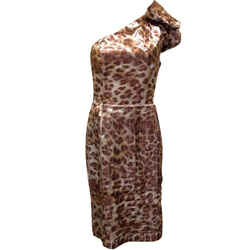 St. John Couture Cocktail With Belt Animal Print Mahogany Brown Size 8 Dress