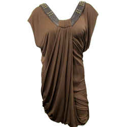 New Yigal Azrouel New York Draped Short Dress 03 Coffee Brown Studded
