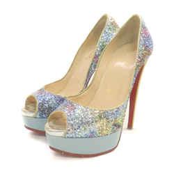 Christian Louboutin Glitter Lady Peep Platform Heels 863362