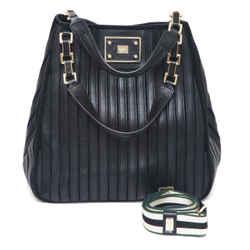 ANYA HINDMARCH Black Leather Suede Shoulder Bag BELVEDERE Hobo Gold Canvas Strap