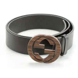 Gucci Calfskin Wood Interlocking G Belt