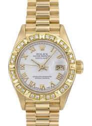 Rolex Lady Datejust 69178 All Gold White Dial Diamond Bezel 26mm Watch
