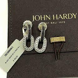 Nwt $795 New John Hardy Black Sapphire Dot Sterling Silver .925 Drop Earrings