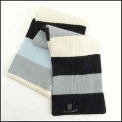 Rdc11261 Authentic Marc By Marc Jacobs Blue/black/grey Stripe Angora Wool Scarf