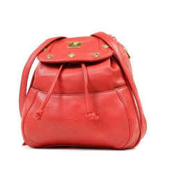Mcm  Studded Red Leather Backpack 232818