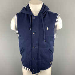 Polo By Ralph Lauren Size S Navy Quilted Cotton Hooded Vest
