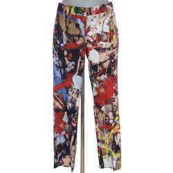SPORTMAX Pant Trouser Straight Leg Abstract Pattern Sz M