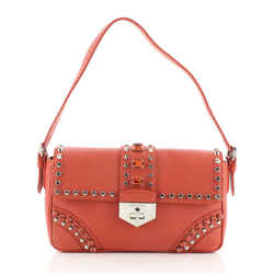 Turnlock Flap Shoulder Bag Studded Saffiano Leather Medium