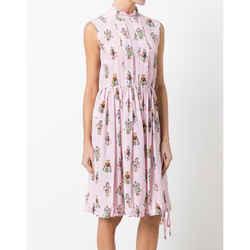 New Prada Pink Robot Print Drawstring Hem Sleeveless Resort Dress