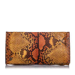 Vintage Authentic Gucci Brown Light Brown Calf Leather Embossed Clutch Bag ITALY
