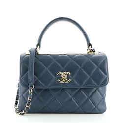 Trendy CC Top Handle Bag Quilted Lambskin Small