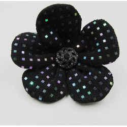 New St. John Knits Vintage Pin Brooch Flower Paillettes Black Santana Crystals