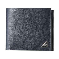 New Prada Navy Blue Saffiano Leather Bifold Wallet Card Case