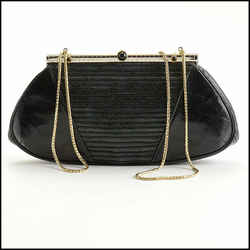 Rdc11200 Authentic Judith Leiber Vintage Black Lizard Evening Bag W/strap