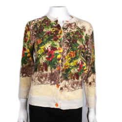Jean Paul Gaultier - Floral Cardigan Sweater  Beige Multicolor Garden - Us Small