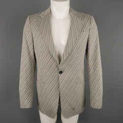 Emporio Armani 36 Beige Diagonal Stripe Single Button Sport Coat